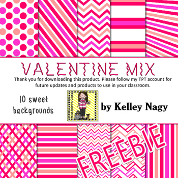 Valentine Mix Digital Papers - FREEBIE