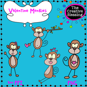 Valentine Monkey Clip Art