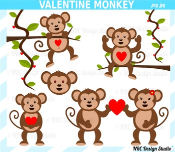 Valentine monkey clipart commercial use