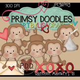 Valentine Monkeys 300 dpi Clipart