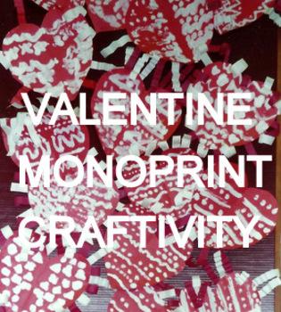Valentine Mono-print Cut-paper