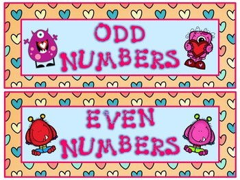 Valentine's Day Math Odd and Even Numbers Center