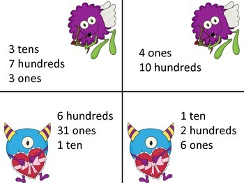 Valentine Monster Number/Place Value Matching