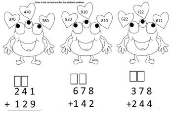 Valentine Monster Three Digit Addition With Regrouping
