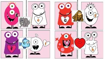 Valentine Monster- alphabet/object match