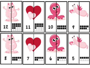 Valentine Monsters A-Z and 1-20 Matching Puzzles