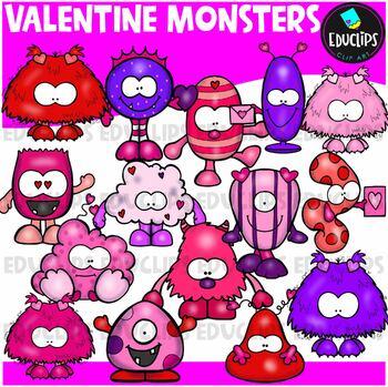 Valentine Monsters Clip Art Bundle {Educlips Clipart}