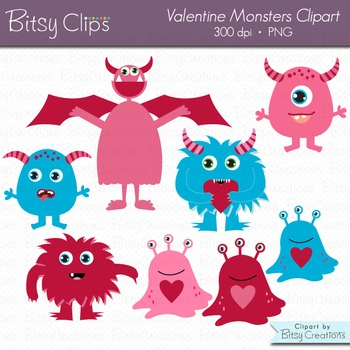 Valentine Monsters Clipart Commercial Use Clip Art