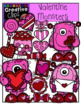 Valentine Monsters {Creative Clips Digital Clipart}
