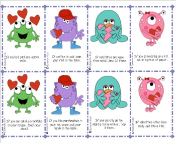 Valentine Monsters: Following Directions