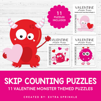 Valentine Monsters Skip Counting Puzzles 2-12