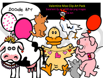 Valentine Moo Clip Art Pack