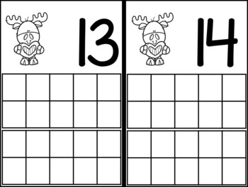 Valentine Moose Ten Frame Counting Mats 1-20