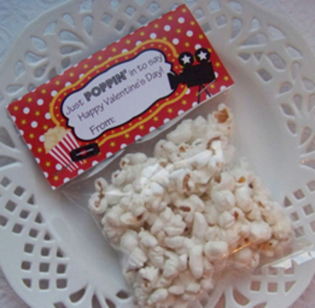 Valentine Movie Popcorn Large Treat Bag Toppers