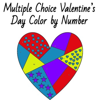 Valentine Multiple Choice Color by Number