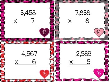 Valentine Multiplication Bundle: 2, 3, and 4 Digits by 1 and 2 Digit Task Cards
