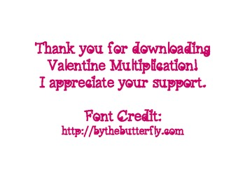 Valentine Multiplication Cards