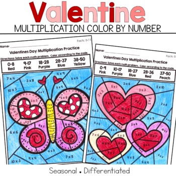 Valentine Multiplication Color by Number Code