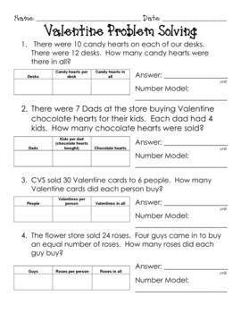 Valentine Multiplication / Division Diagram Problem Solving