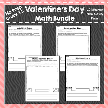 Valentine Multiplication, Division, Graphing, Story Problems, Place Value, Time