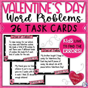 Valentine Multiplication & Division Word Problems Task Cards - Error Analysis