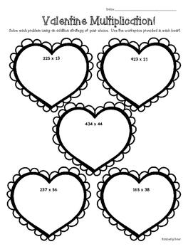Valentine Multiplication! Practice Worksheets-5 Levels!