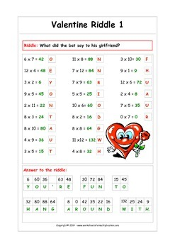graphic about Printable Riddles named Valentine Multiplication Riddles - Exciting printable worksheets