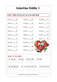 Valentine Multiplication Riddles - Fun printable worksheets