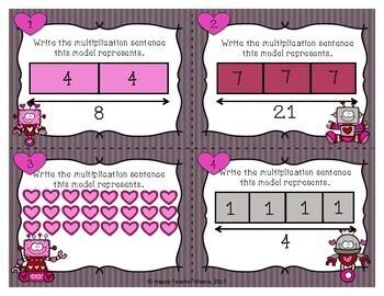 Valentine Multiplication Task Cards   PDF & Digital for Distance Learning