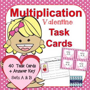 Valentine Multiplication Task Cards