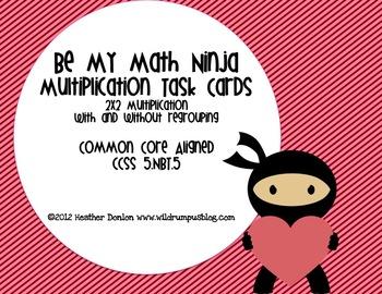 Valentine Multiplication Task Cards {Be My Math Ninja}