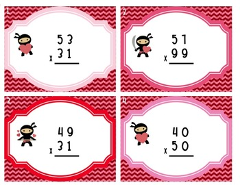 Valentine Multiplication Task Cards {Be My Math Ninja}