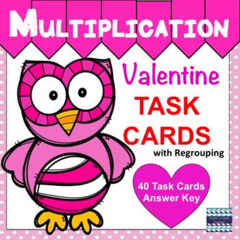 Valentine Multiplication Task Cards Sets C & D
