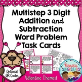 Valentine Multistep Addition and Subtraction Word Problem Task Cards W/ QR Codes