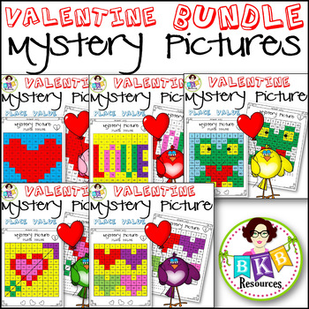 Valentine● Mystery Picture 1-5 BUNDLE ● Hundreds Chart ● Place Value