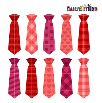 Valentine Neckties Clip Art - Great for Art Class Projects!