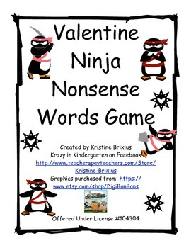 Valentine Ninja Nonsense Word Game