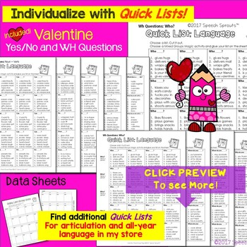 Speech Therapy Valentine's Day Activities with Yes-No & WH Questions