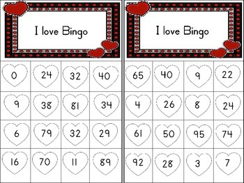 Valentine Number Bingo 0-100