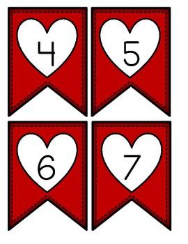 Valentine Number Bunting