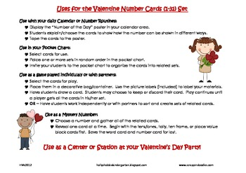 Valentine Number Cards 1-31, Place Value, Ten Frames, Number Words, Tally