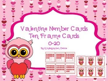 Valentine Number Cards and Ten Frame Cards 0 - 20
