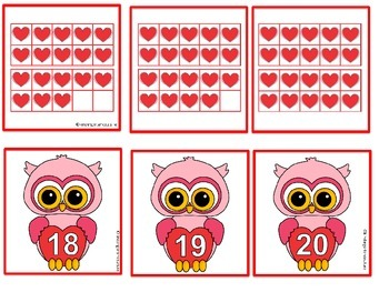 Valentine Number Cards and Ten Frame Cards 0 - 20