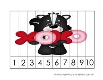 Valentine Skunks Number Counting Strip Puzzles - 5 Designs