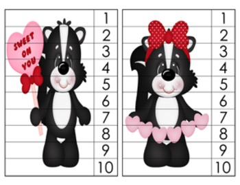 Valentine Skunks Number Counting Strip Puzzles - 5 Designs