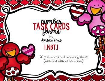 Valentine Number Forms Task Cards with/without QR Codes