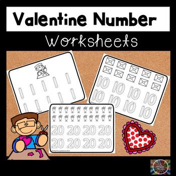 Valentine Number Handwriting Worksheets
