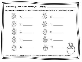 Valentine Number Match Up Math Center