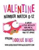 Valentine Number & Number Word Match Pre-K Kindergarten First Grade