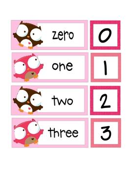 Valentine Number & Number Word Match Pre-K Kindergarten First Grade